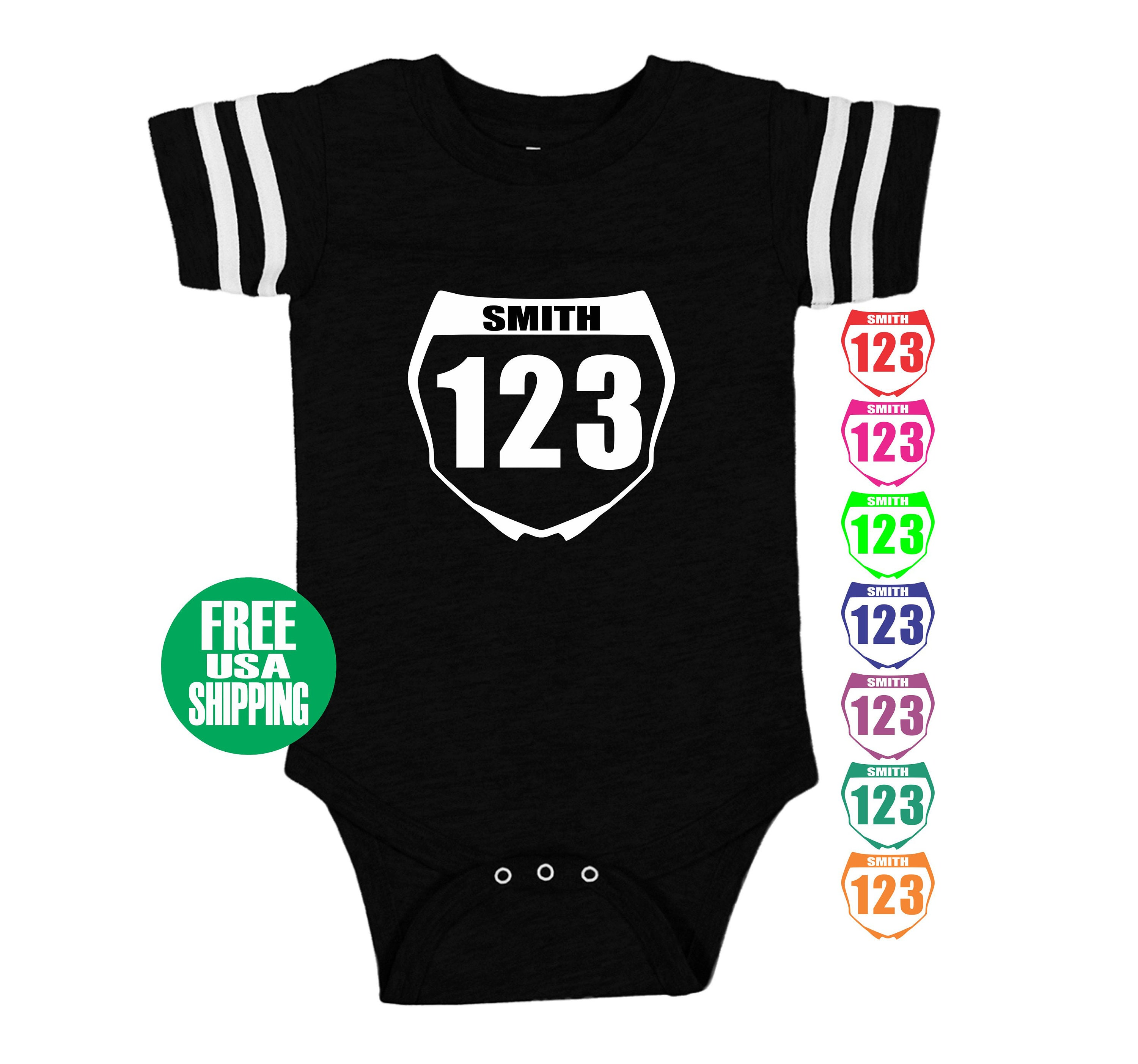 MOTOCROSS NUMBER PLATE esie Jersey Baby Boy Girl Shower Gift