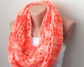 orange knit infinity scarf orange crochet scarf loop scarf woman scarf winter scarf