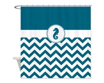 MARINE BLUE Chevron SEAHORSE Shower Curtain - Custom Shower Curtain, Beach, Ocean