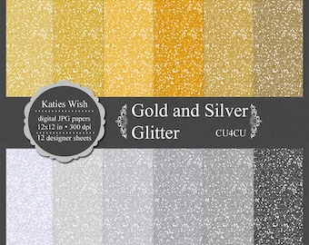 Gold and Silver Glitter digital paper kit, commercial use ok, instant download file for digital scrapbooking