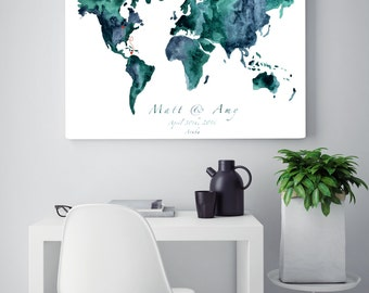 Wedding guest signing, Personalized wedding guest signing, Watercolor World Map wedding signing
