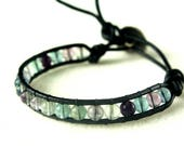 Fluorite gemstone leather...