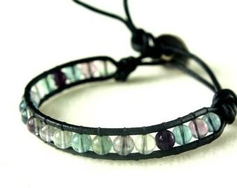 Fluorite gemstone leather wrap bracelet
