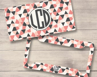 Geometric Personalized License Plate and Frame, Monogram License Plate, Monogram Car Tag, Coral and Grey Plate (0008)
