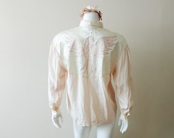 Vintage silk blouse | vintage 100% silk beaded and embroidered long sleeve blouse
