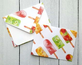 Popsicle Mini Envelopes, Blank Mini Cards