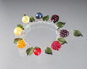 Rainbow Glass Fruit Charm Bracelet  lampwork bead jewelry hand blown glass art birthday gift, Mother's Day gift for gardener