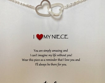gift for niece - Delicate Heart Outline neckalce  Heart necklace - niece gift -  niece - necklace gift for niece - niece jewelry