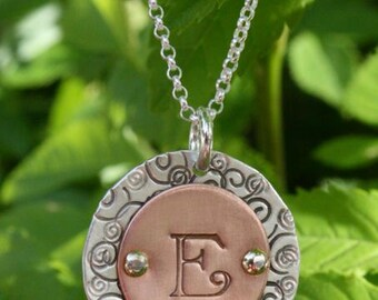 Monogram Necklace - Initial Necklace - Sterling Silver & Copper Monogram Necklace - Teacher Gift - Mother's Day Jewelry