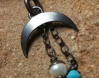 Crescent Moon Boho Goddess Necklace in Matte Black Sterling Silver 18in with Pearl and Turquoise Tassels