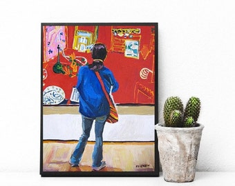"""Girl In Museum Looking at Henri Matisse, Art Print 8x10, """"Girl and The Red Studio"""" MOMA red blue Painting by Gwen Meyerson"""