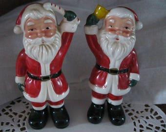 Vintage Santa Salt and Pepper Shakers Standing Santas