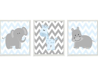 Nursery Art  Elephant Giraffe Hippo Safari Wall Art - Blue Gray Chevron  Print Set   - Baby Boy Children Kid Room Home Decor Wall Art