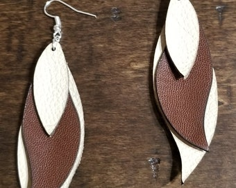 Leather Leaf Ear Rings