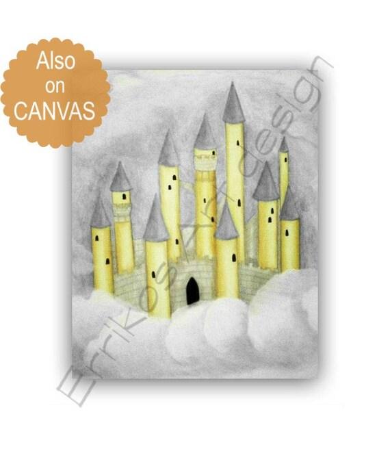 Prince Nursery Art Castle Art Print Custom Name Yellow