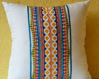 Aztec Pillow Cover, Aztec Throw Pillow, Mexican Throw Pillows, Blue and Coral Boho Pillows, Aztec Pillows, Boho Pillows, Bohemian Pillows
