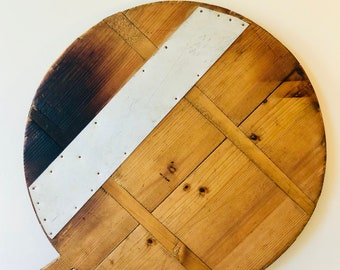 Vintage Large French Round Bread Board, French Charcuterie Board, Cheese bread Board, Wooden Cheese Board, Cheese  Bread Platter