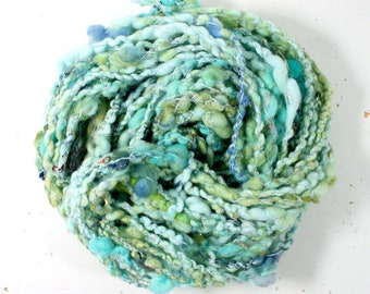 kelp 1  .. hand spun yarn, art yarn, handspun art yarn, wool yarn, boucle yarn, bulky yarn, handspun wool yarn