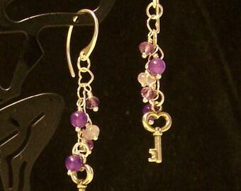 Sterling Silver Amethyst & Lavender Jade  Dangling Key Earrings