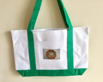 Beautiful grocery, boat, carry all  tote bag with lovely Sailor's  Valentine picture.