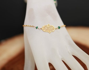 Hamsa Kabbalah bracelet Bat Mitzvah gift from mother hamsa hand of Fatima Protection Spiritual bracelet with May birthstone Hamsa jewelry
