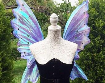 Large blue/purple triple wing fairy wings