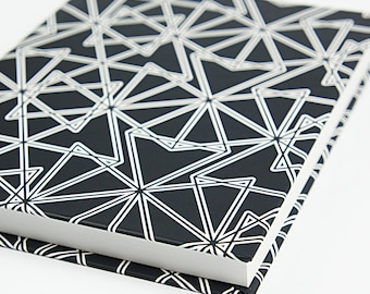 Writing Journal, Travel Journal, Travel Diary, Modern Notebook, Black and White, Geometric Design, For Him, For Her, Masculine Pattern