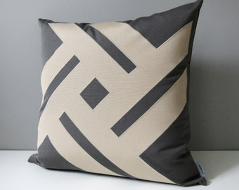 Decorative Outdoor Pillow Cover, Modern Grey & Beige Sunbrella Pillow Cover, Geometric Pillow Cover, Gray Pinwheel Cushion Cover, Mazizmuse