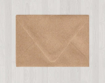 10 A9 Envelopes - Euro Flap - Light Brown & Gold - DIY Invitations - Envelopes for Weddings and Other Events