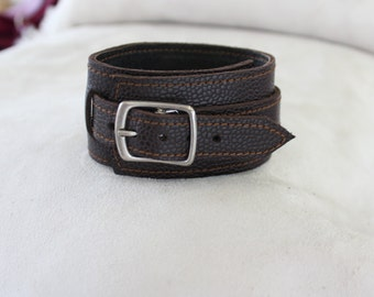 Brown leather wristband