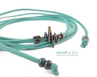 Colourful Heartbeat arrow choker or lariat necklace // convertible wrap bracelet // bohemian wrap festival style choker // vegan friendly