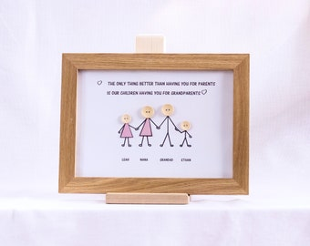 Handmade, personalised Grandparent, family button picture