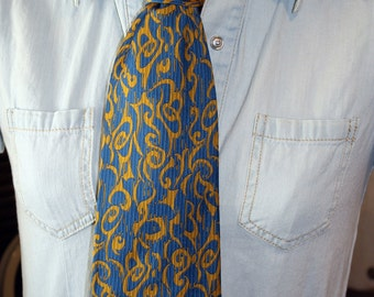 Retro Men's Tie, Fine's Men's Stores, Norfolk VA, Blue and Gold, Royal Blue, Peacock Blue, Polyester, Halloween Costume