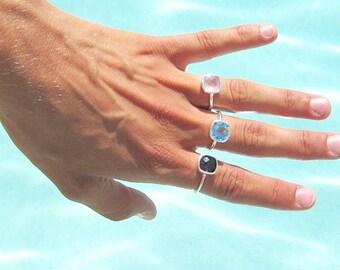 Pink Chalcedony Ring - Gemstone Ring - Stacking Ring - Rose Quartz Ring