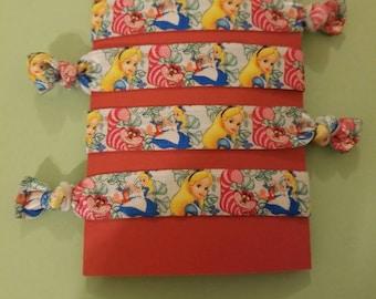 Set of 4 Alice in Wonderland elastic hair ties