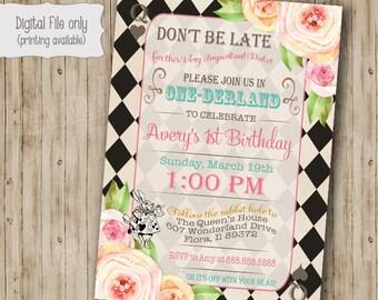 Alice in Wonderland Birthday Party Invitation, Alice in Onederland Birthday tea party invitation, Vintage floral Mad Hatter invite, Black
