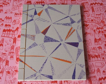 Hand Stitched Notebook - Star Pattern screen print