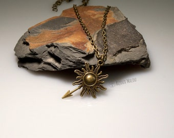 Short Sun Necklace With Spear Sun Spear Necklace Everyday Jewellery Cheap Short Necklace Bronze Sun Necklace