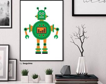 Green Robot Print, Kids Room Decor, Nursery Decor, Printable Wall Art, Boy Baby Children, Robot Poster, Toy Illustration, Digital Download