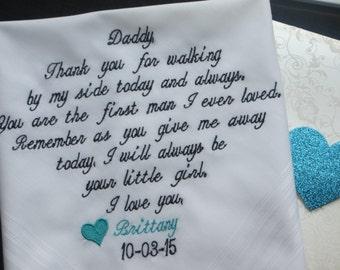 Personalized Wedding Handkerchief Custom embroidered wedding hankie To dry happy tears Wedding gift for Dad Wedding Handkerchief for Dad-24