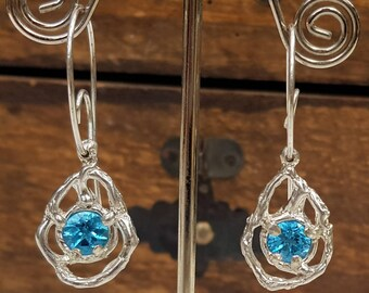 SOLD. Sold.Twisted topaz, Sterling silver topaz earrings