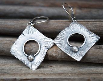 Sterling silver earrings-Raw silver earrings-Dangle earrings-Oxidised silver earrings-Artisan silver earrings-Handmade earrings-Unique