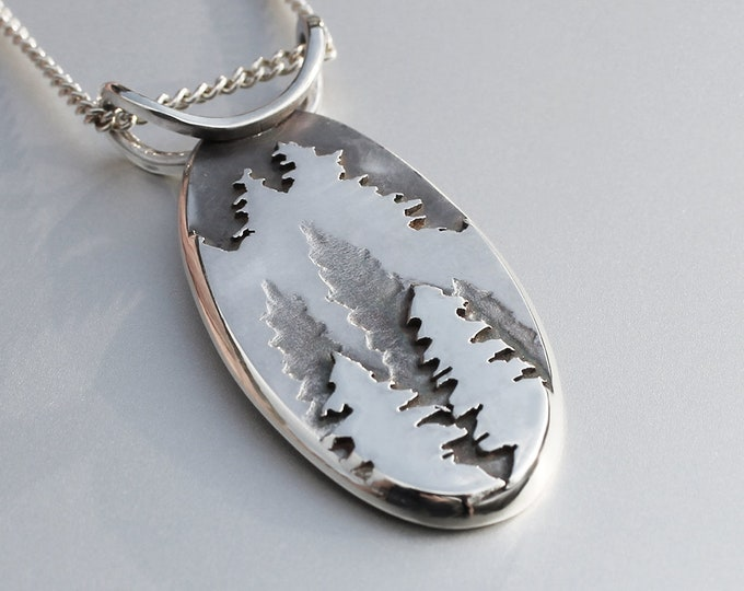 Mountain Pendant, Fir Tree Pendant, Silver Pendant, Silver Jewellery, Silver Jewelry.