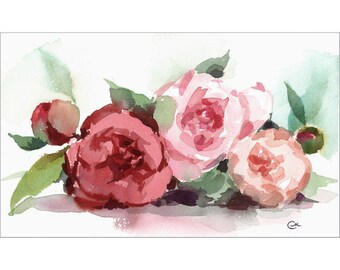 Peonies - Original Watercolor Painting 6 1/4 x 10 1/2 inches Flowers Mother's Day