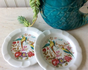 Vintage Pair of Porcelain Plates, FD Chauvigny, France, Birds, Floral, Pantone,  Cheese Plates, Trinket Dish, Hollywood Regency, Shabby Chic