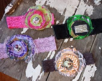Fabric flower headband,  rag style fabric flower,  birthday