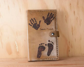 Custom Engraved Bible Cover with Footprints and Inscription - Handmade Leather Bible Cover in Antique Brown - Third Anniversary Gift