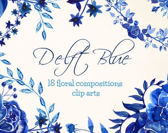 Delft Blue Clipart, Delft Compositions, blue floral watercolor, indigo clipart  flowers, blue wreaths watercolor, delft flowers clip art