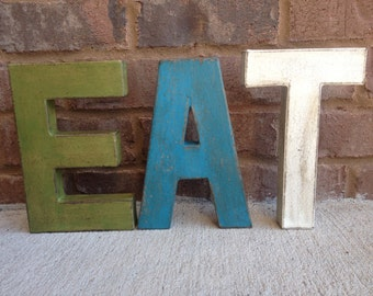 "12"" Painted Distressed Letters. EAT letters.  Look of Aged Metal Industrial Letters. Typography.  Vintage Inspired Letters"