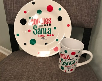 Santa Cookie Plate and Milk Mug